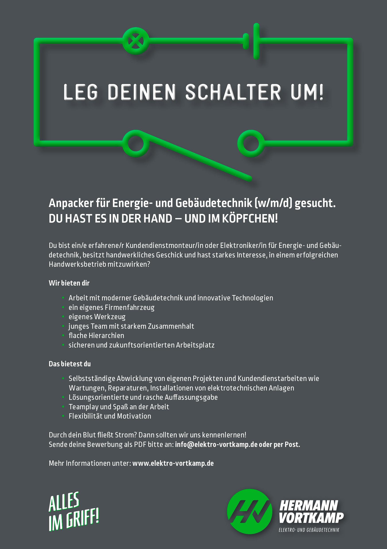 Stellenanzeige der Hermann Vortkamp e.K. - Leg Deinen Schalter um